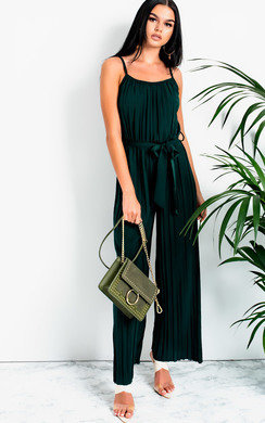 View the Zeena Pleated Tie Waist  Jumpsuit online at iKrush