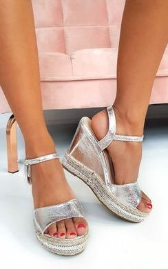 View the Zendaya Embellished Metallic Wedged Heel online at iKrush