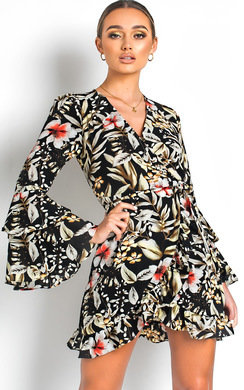 View the Zoey Floral Tie Wrap Dress  online at iKrush