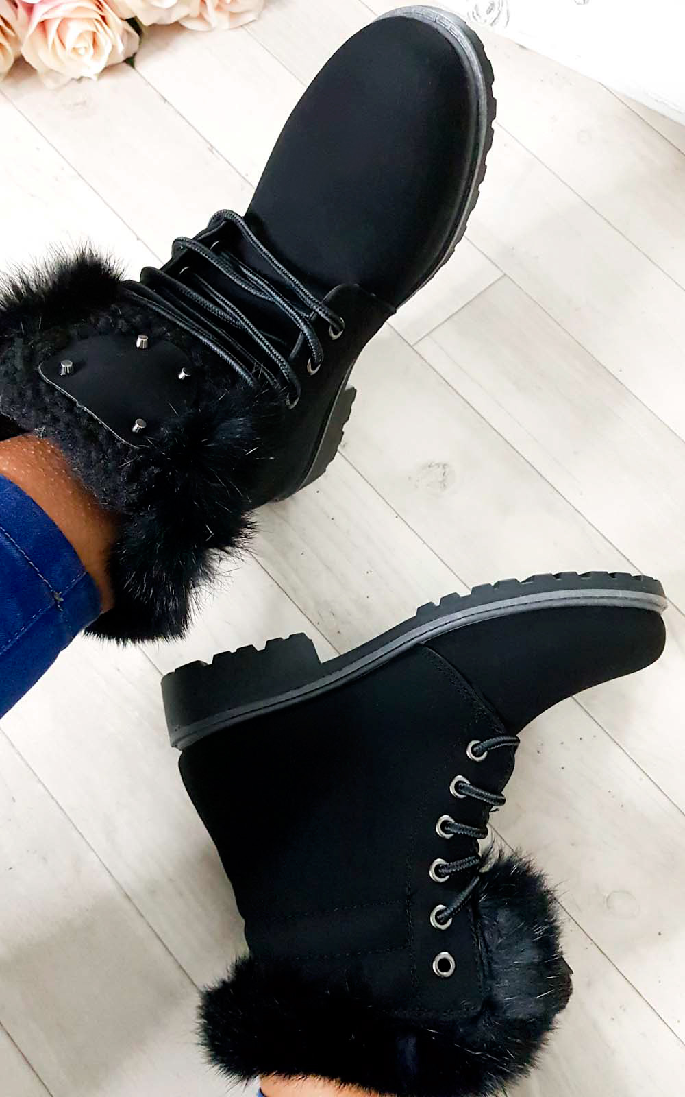 Josie Faux Fur Lace Up Boots in Black