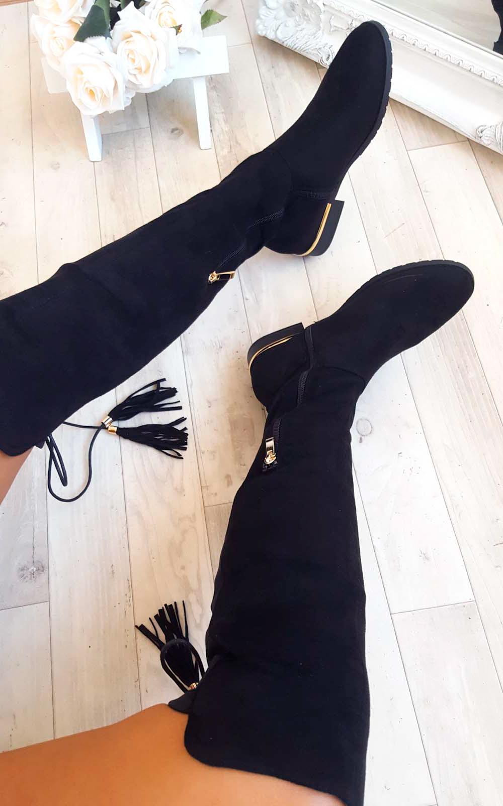 Raven Faux Suede Tie Tassel Knee High Boots in Black