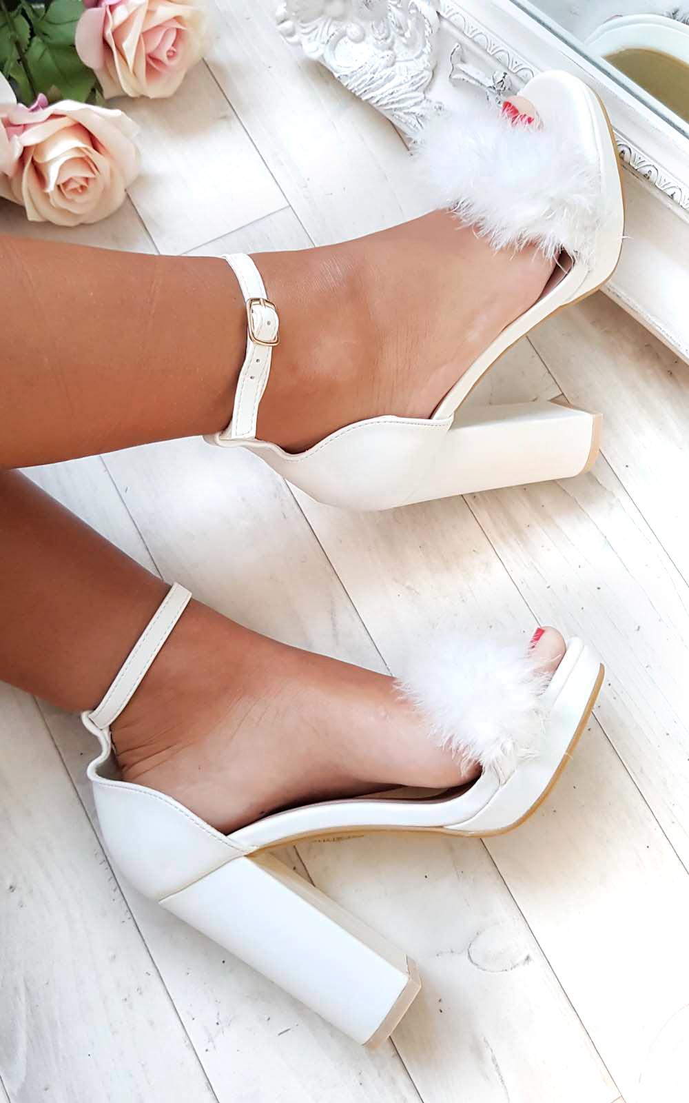 Alena Fluffy High Heels in White   ikrush