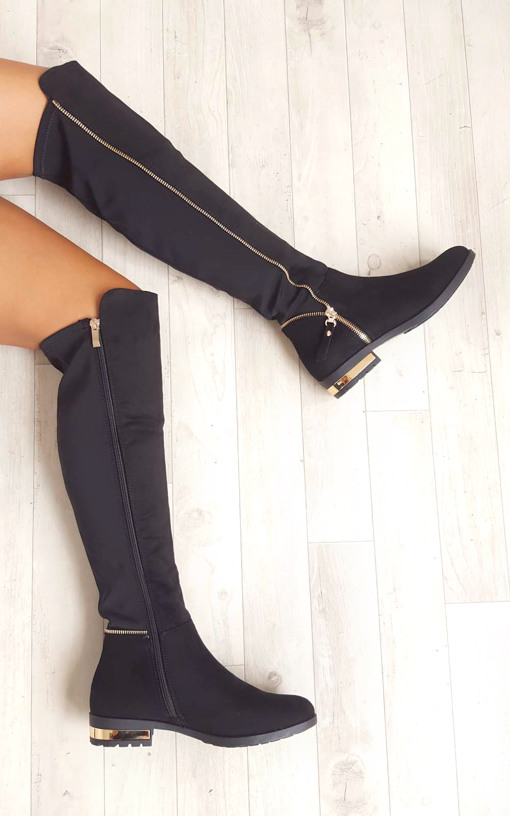 Samia Faux Suede Gold Zip Stretch Knee