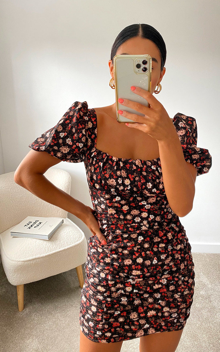 Amy Floral Bodycon Dress in Black
