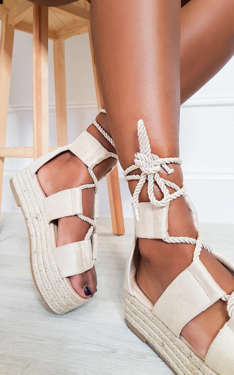 Annie Flatform Rope Sandals in Cream