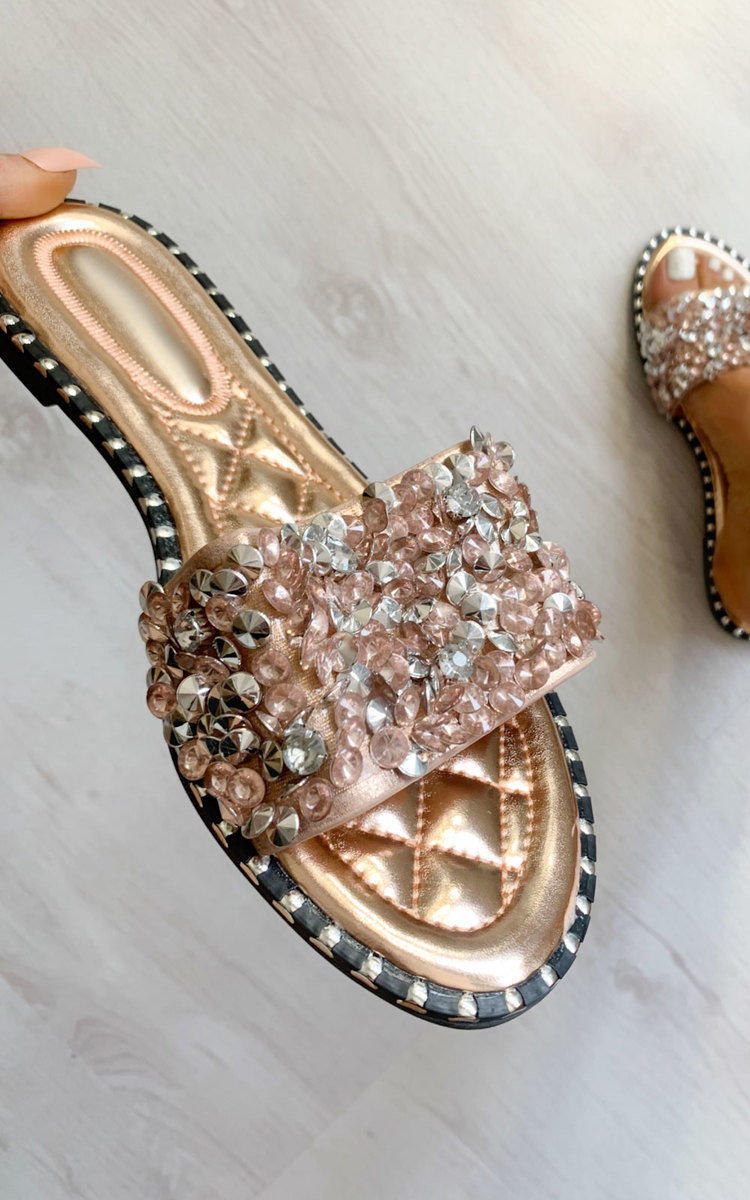 Anya Embellished Slip On Sandals in Champagne