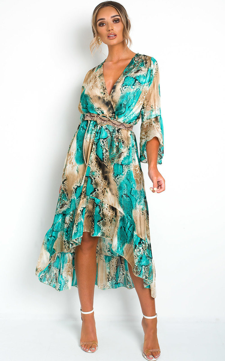 Anya Printed Floaty Maxi Dress in Turquois