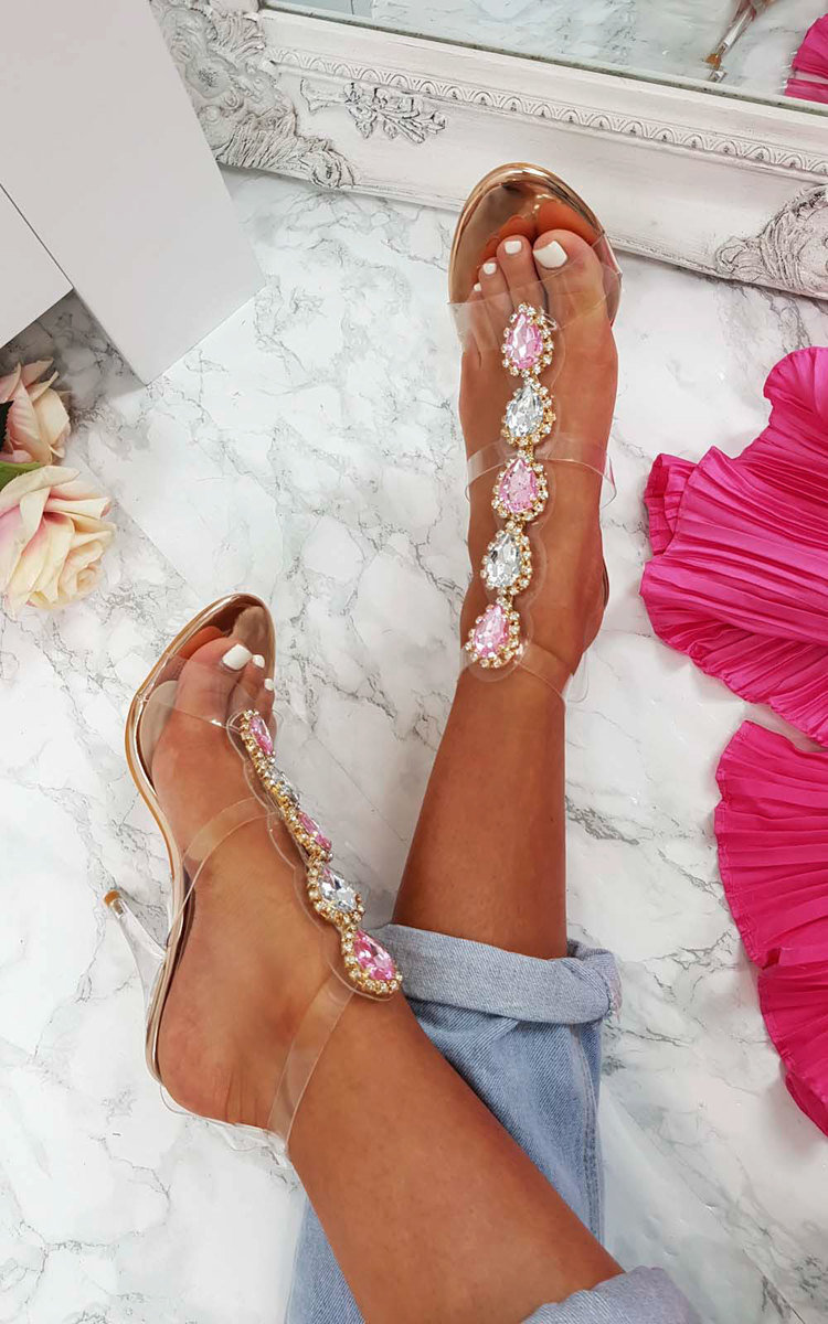 Ariana Embellished Perspex Heels in Champagne