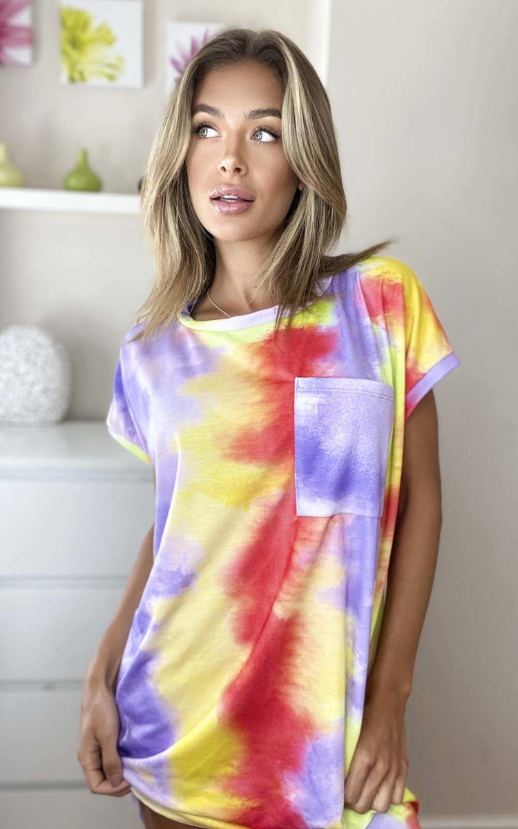 Asha Tie Dye Oversized Top in Lilac