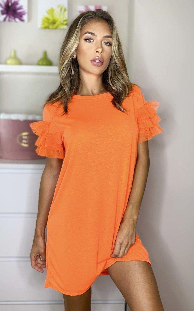 Astrid Tulle Sleeve T-Shirt Dress in Orange