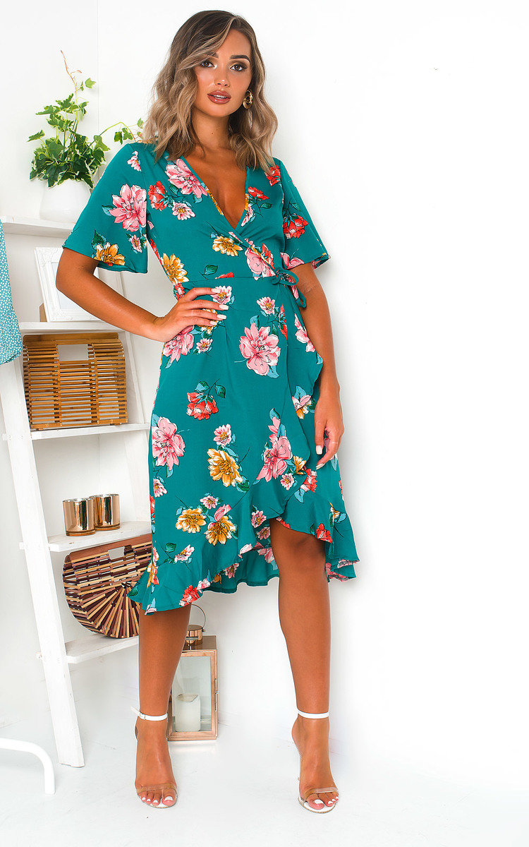 Athena Floral Chiffon Wrap Dress in Green