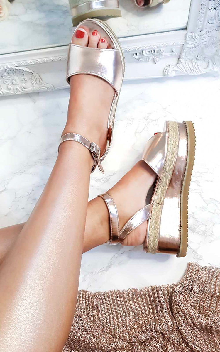Ava Flatform Sandals in Rose gold   ikrush