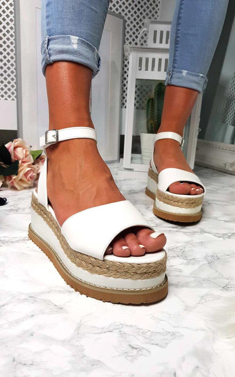 Ava Flatform Sandals in White | ikrush