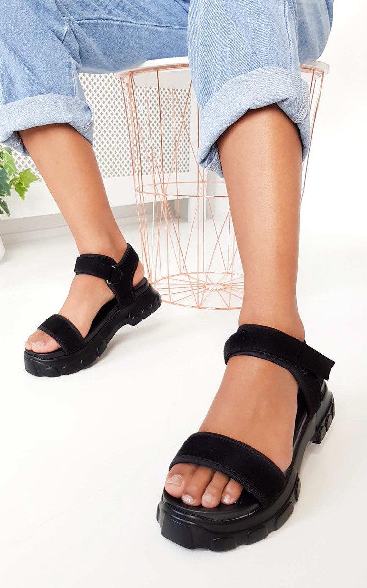 Ayla Strap Chunky Sandals in Black