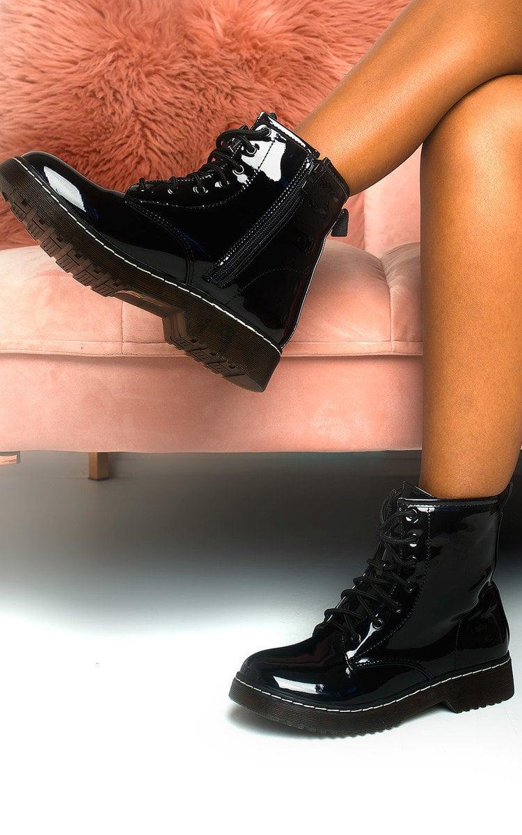 Mimi Lace Up Biker Boots In Black Pat Ikrush