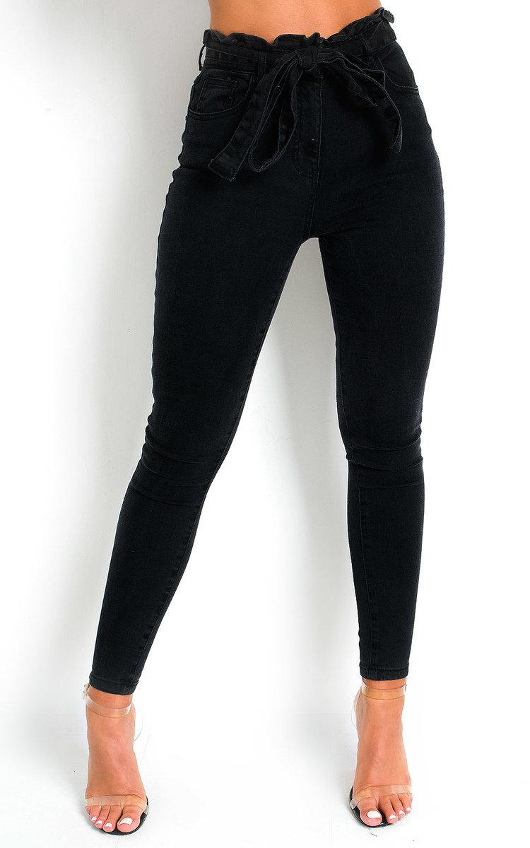Cardi Tie Waist Denim Jeans in Black