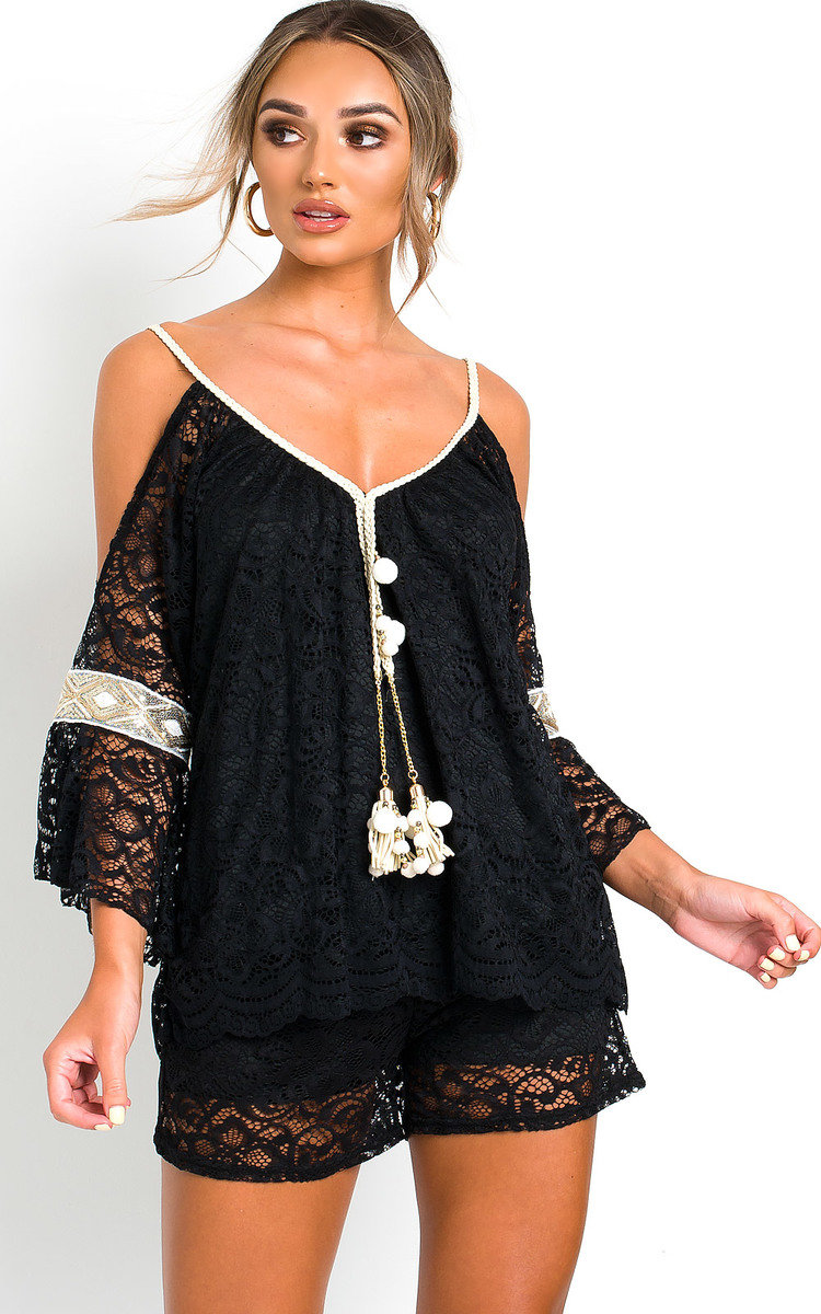 Celine Lace Embellished Top & Shorts Co-Ord in Black