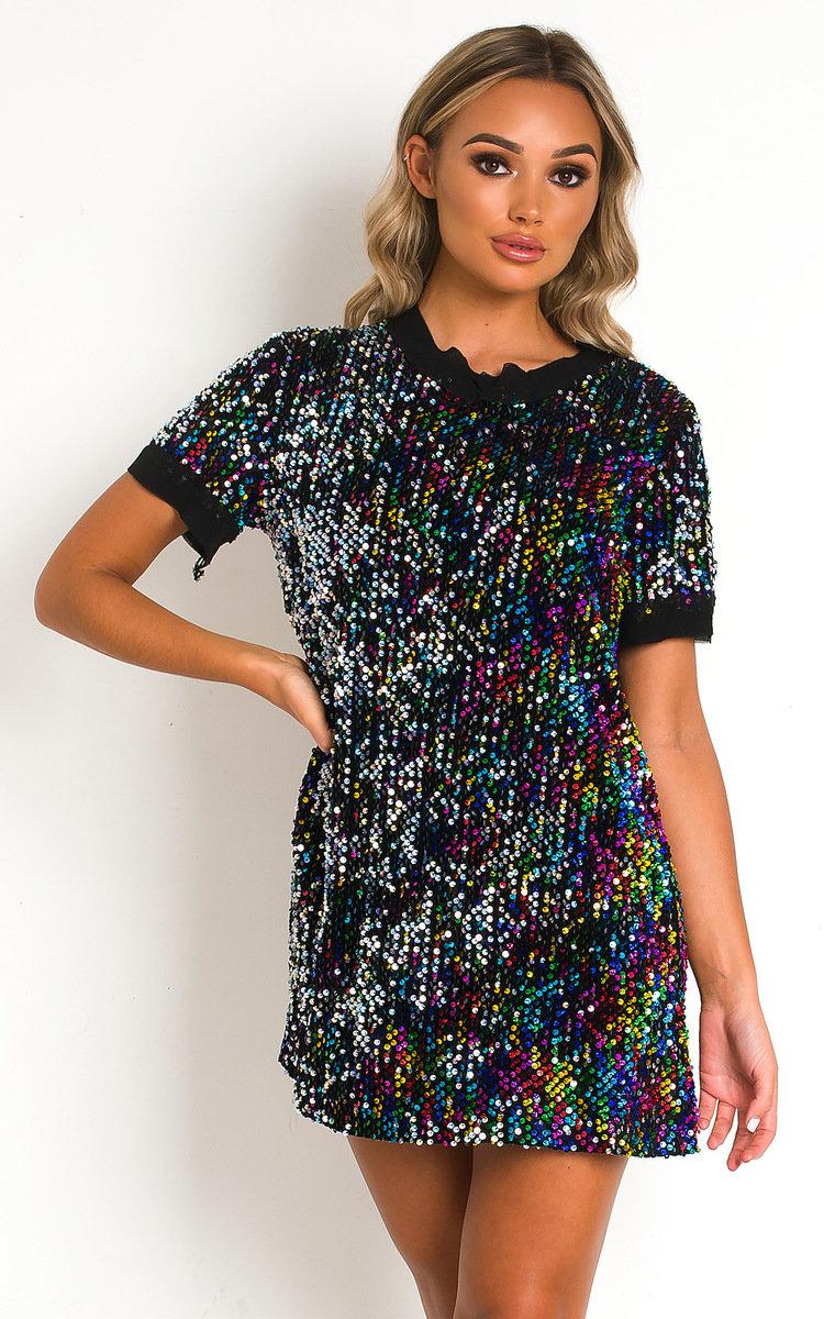 Charli Sequin T Shirt Mini Dress