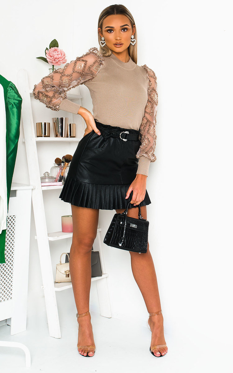 Cher Faux Leather Pleated Mini Skirt in Black