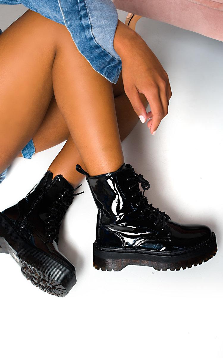 Cherie Lace Up Biker Boots in Black pat