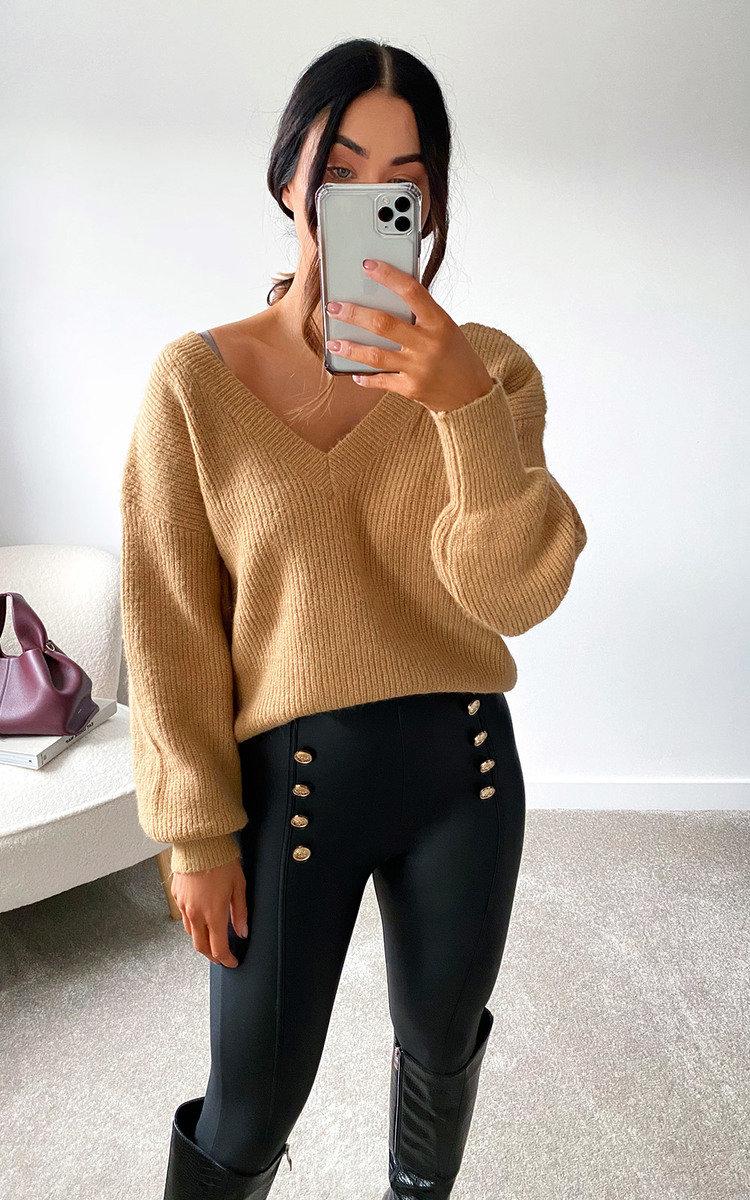 Cheryl Faux Leather Button Leggings in Black