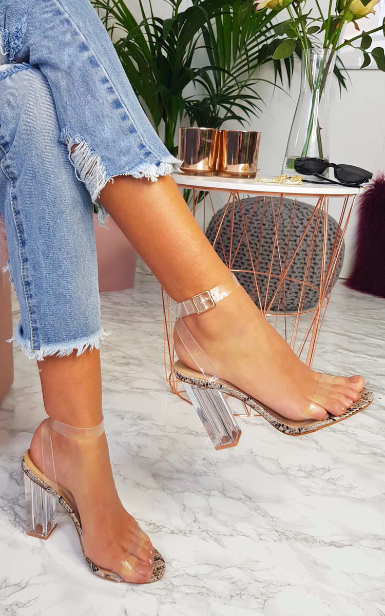 Chlo Barely There Clear Block Heels in