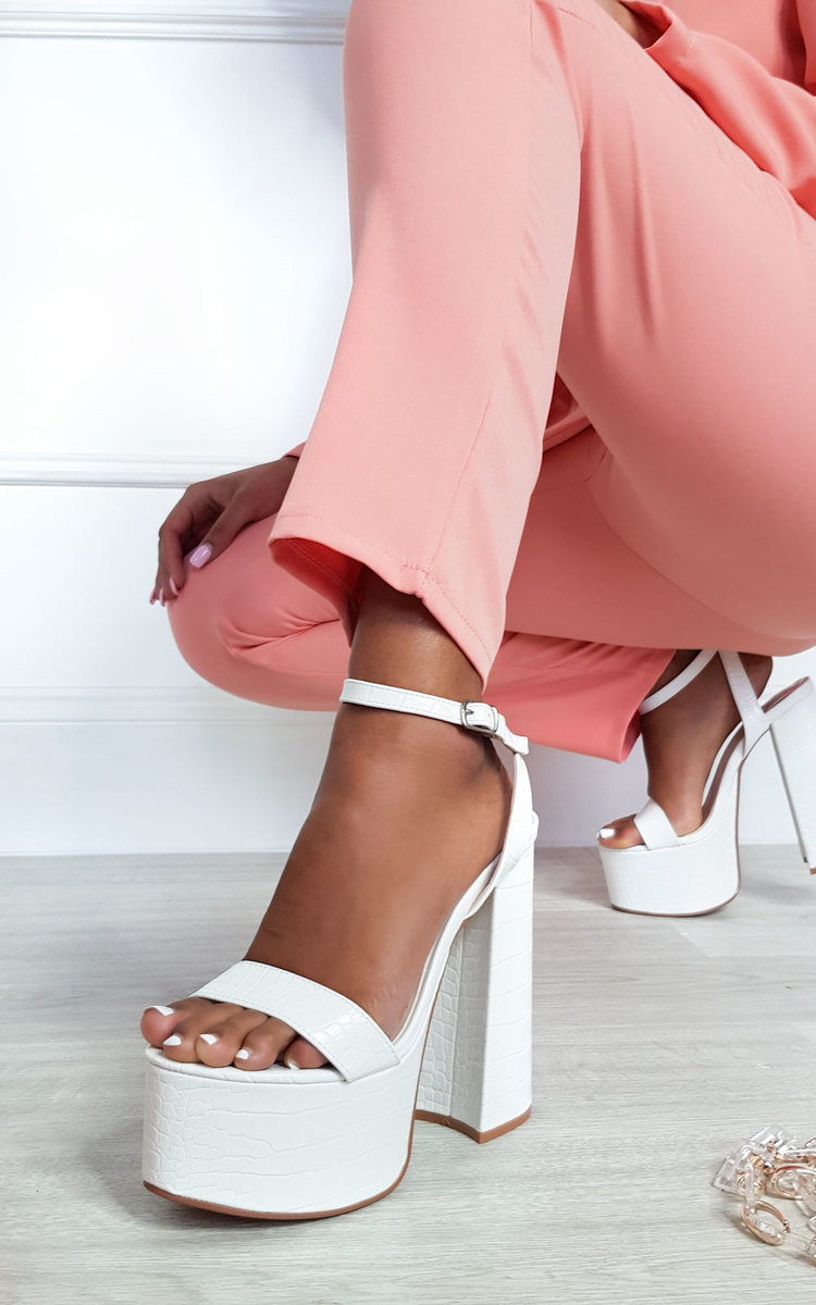 Chloe Chunky Platform Heels in White