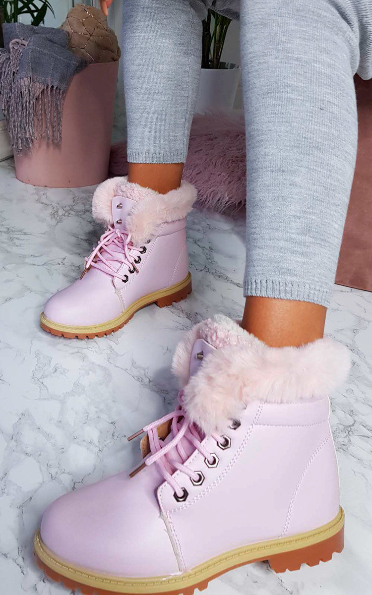Clara Faux Fur Lace Up Desert Boots in Pink