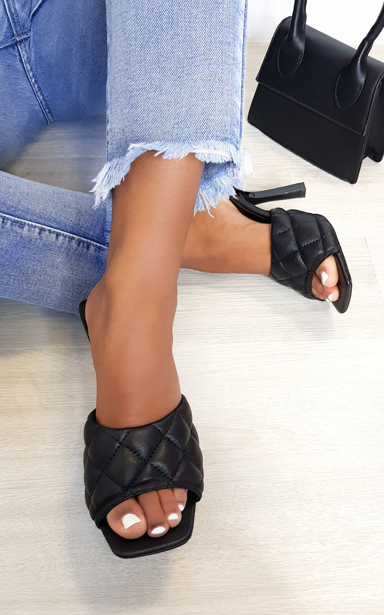 Clarisse Quilted Mule Heels in Black