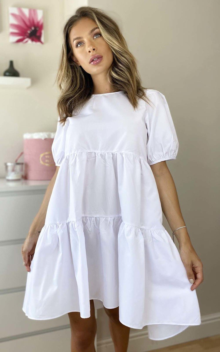 Coco Layered Shift Dress in White