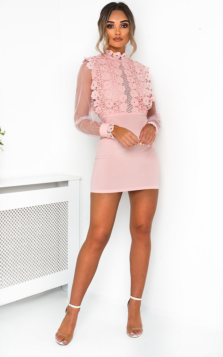 Connie Sheer Crochet Mini Dress in Pink