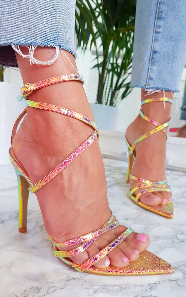 Cora Strappy Patent Pointed High Heels in Gold