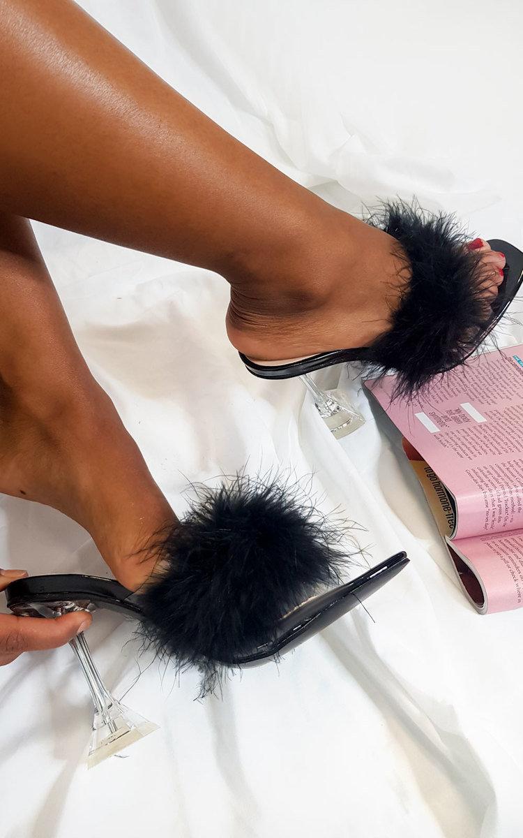 Darling Feather Statement Heels in Black