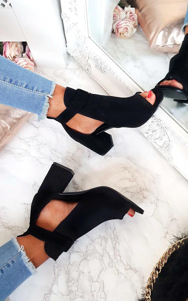 Dezi Buckle Peep Toe Ankle Boot in Black