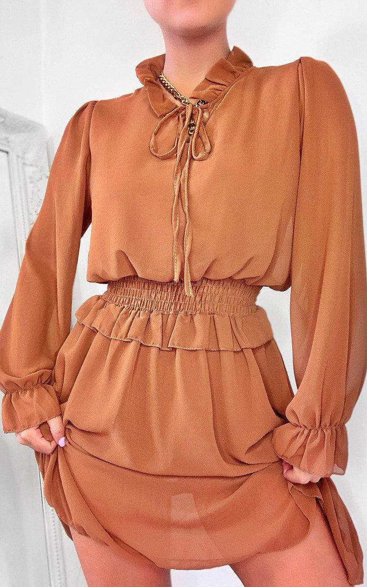 Dionne Frill Mini Dress in Camel