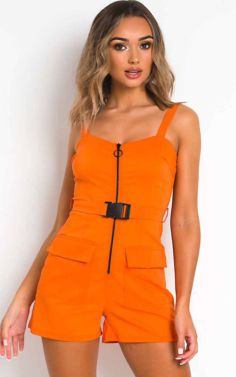 Dionne Zipped Utility Playsuit in Orange
