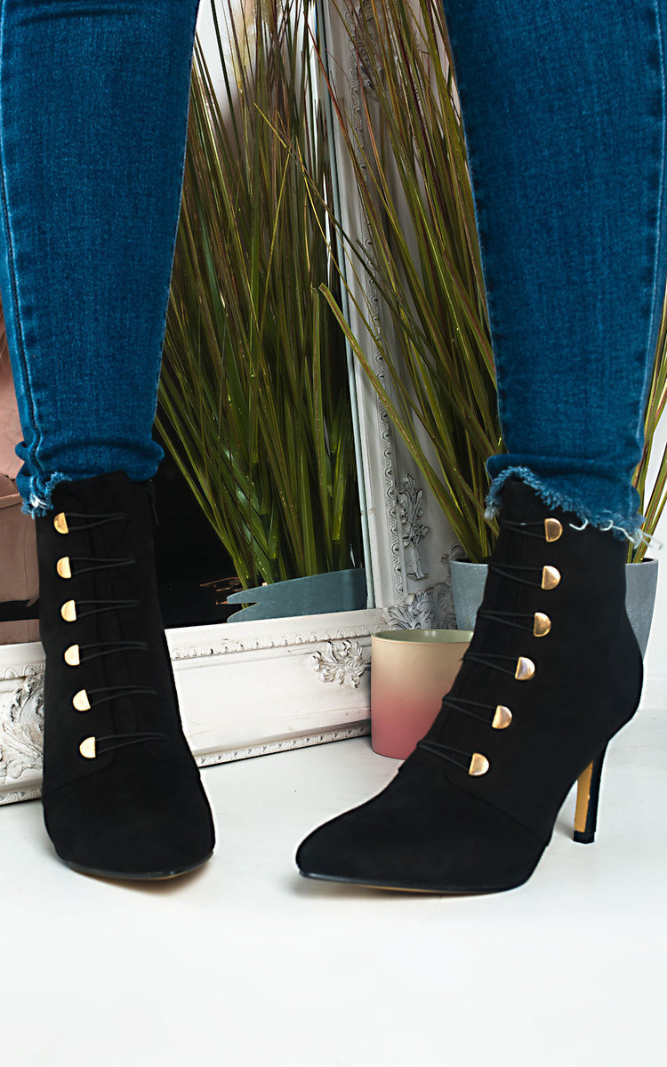 black high heel boots lace up