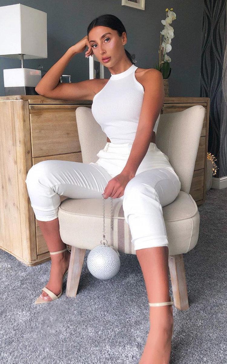 Ella Racerback Basic Ribbed Bodysuit in Cream
