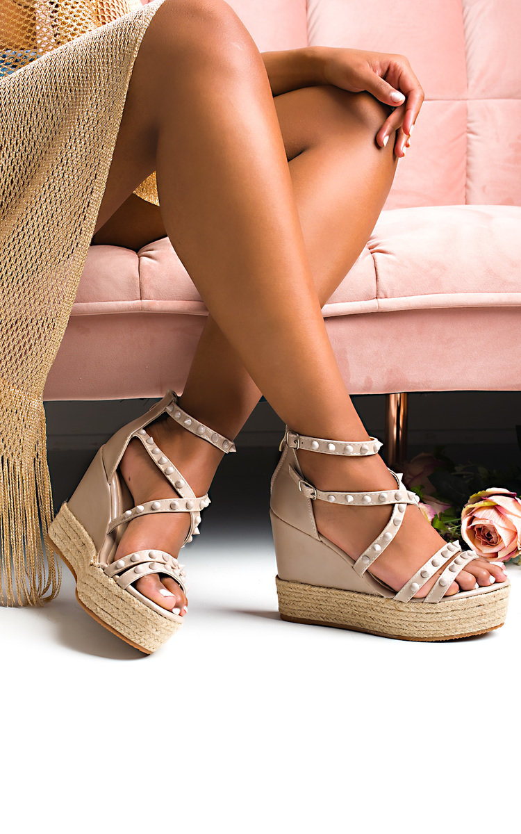 Ellah Studded Faux Leather Wedges in Nude