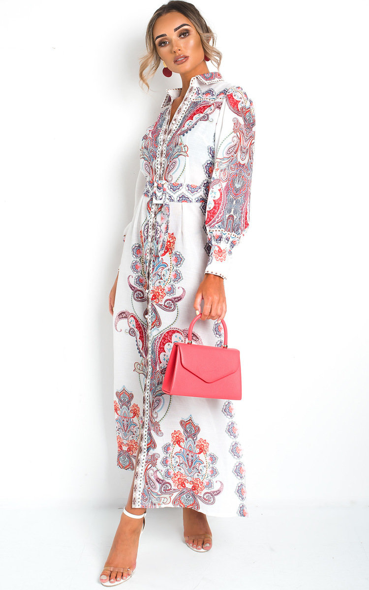 Elma Button Up Printed Maxi Dress in White