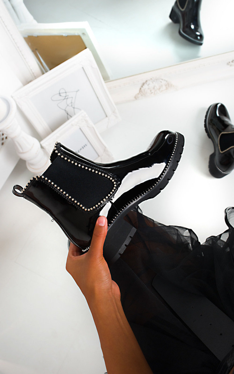 Emma Patent Chunky Heel Boots in Black