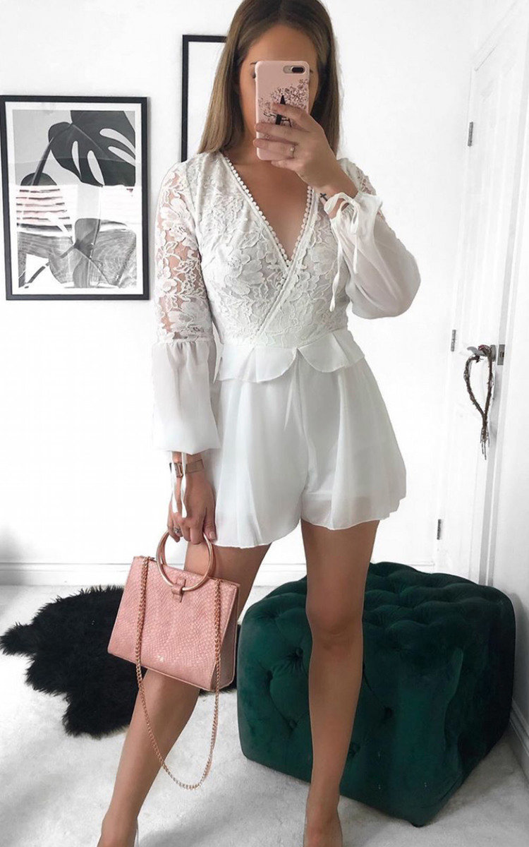 Erim Crochet Lace Backless Playsuit in White