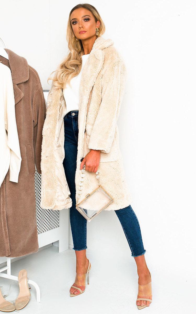 Farah Teddy Bear Maxi Coat in Cream