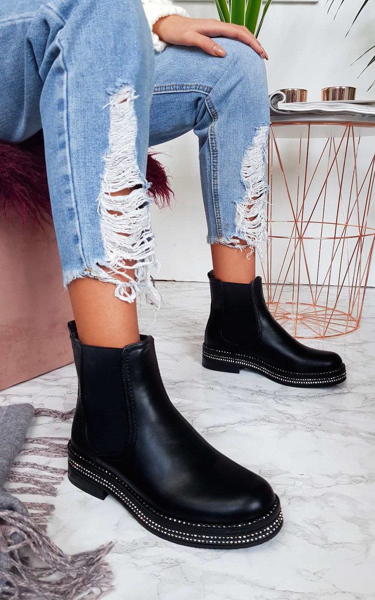 svart flat studded støvler low price
