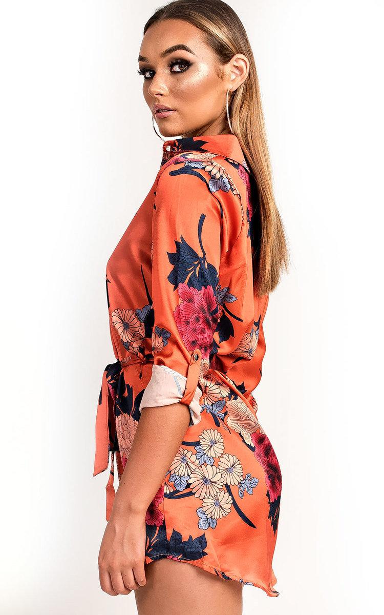 Freja Long-lined Floral Shirt Dress in Orange