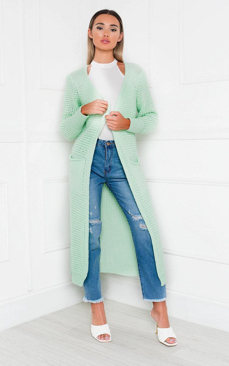 Freya Longline Knitted Cardigan in Mint