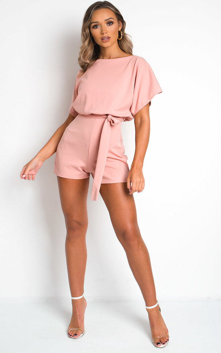 Freya Tie Waist Playsuit in Peach