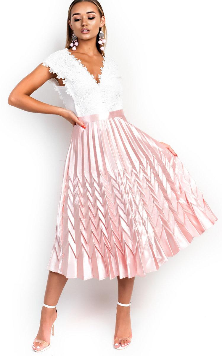Gabbana Metallic Pleated Midi Skirt in Pink