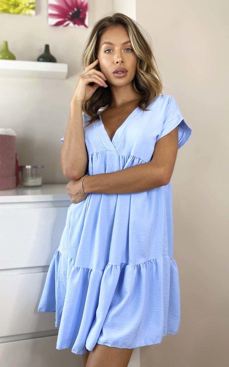 Gemma Layered Shift Dress in Blue