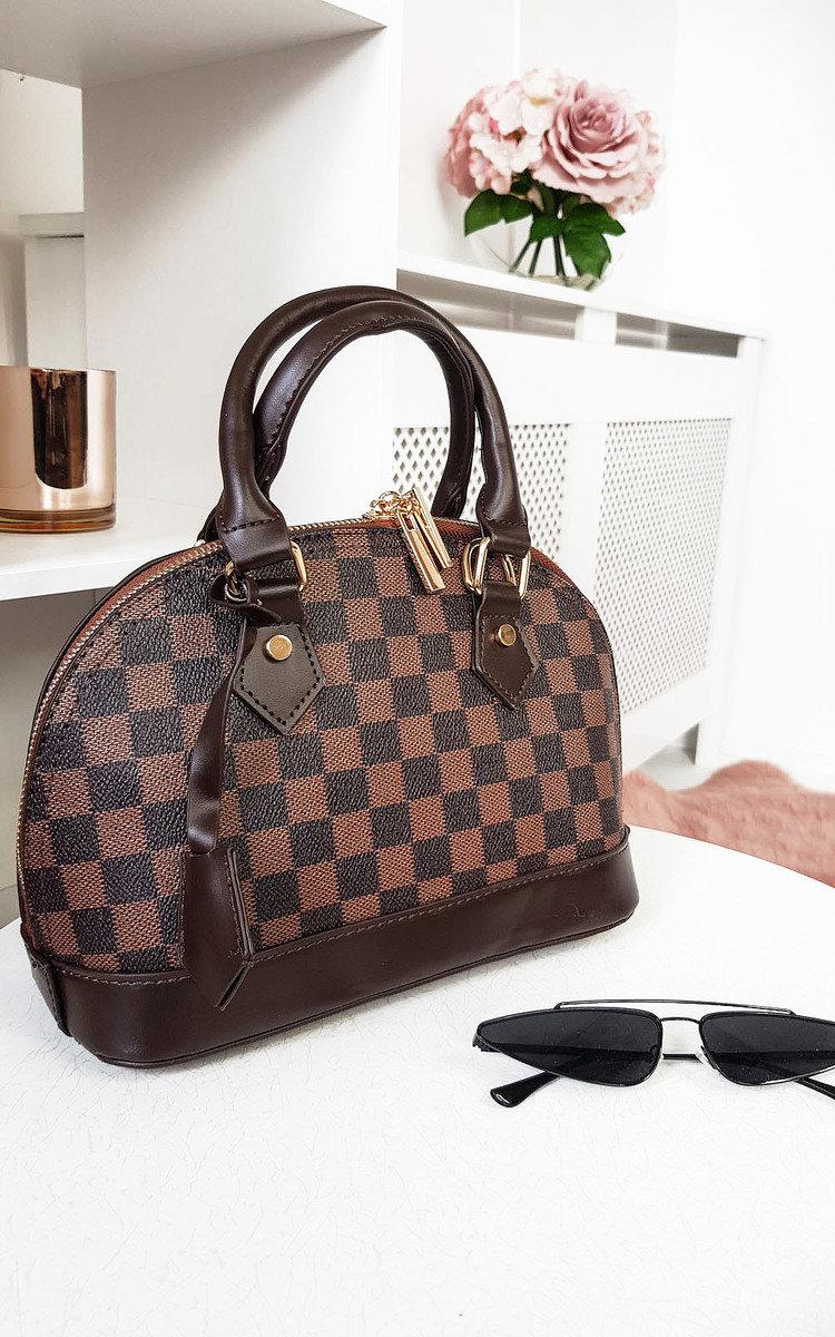 Gigi Check Handbag In Brown Ikrush